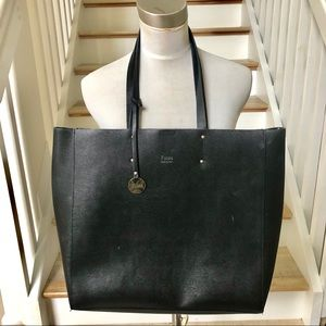 Fiore black large leather tote